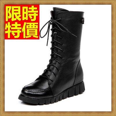 馬丁靴女中筒靴子-休閒圓頭真皮女鞋子2色65d73【獨家進口】【米蘭精品】