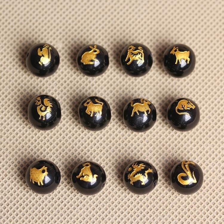 [超豐國際]半成品圓珠黑石生肖燙金半成品散珠手鏈隔珠飾品配件1入