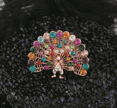 戒指水晶戒指 指環 孔雀戒指 時尚流行戒指 時尚飾品女彩鑽動物