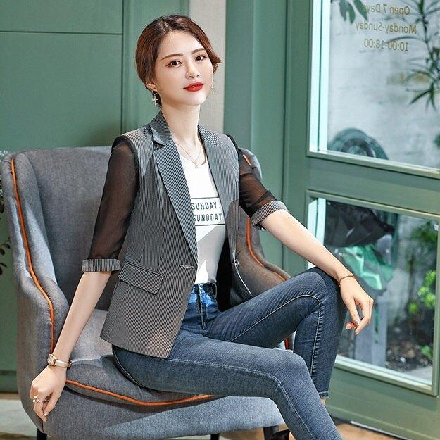 西裝領透氣薄紗袖上班/休閒五分袖西裝外套[9S049-PF]灰姑娘