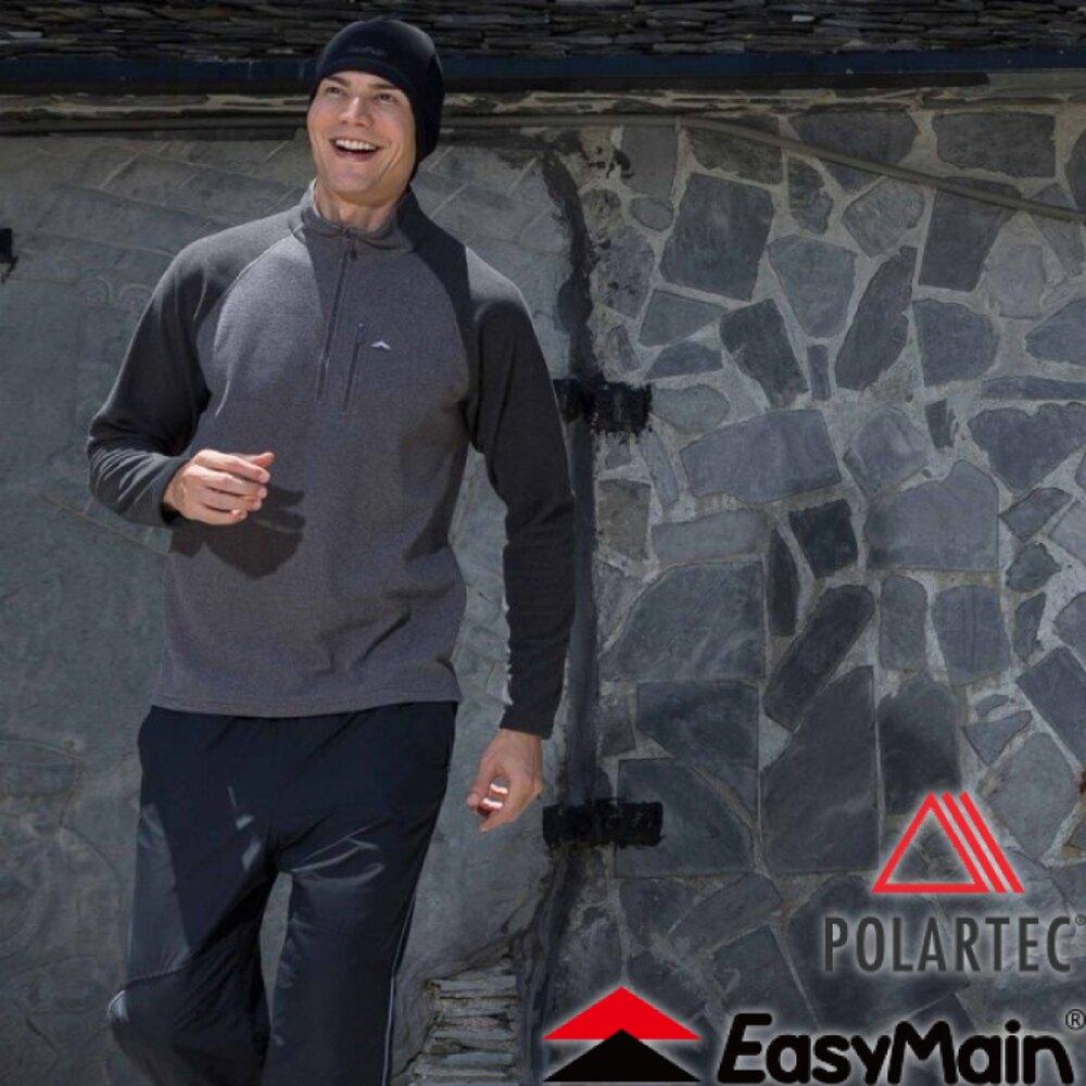 《低溫特報》【EasyMain 衣力美 男款 輕暖排汗休閒衫《灰》】SE16063/高透氣/立領設計/保暖柔軟