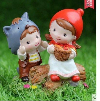創意小紅帽情侶婚慶樹脂娃娃家居裝飾品婚房小擺件結婚禮物(圖一)