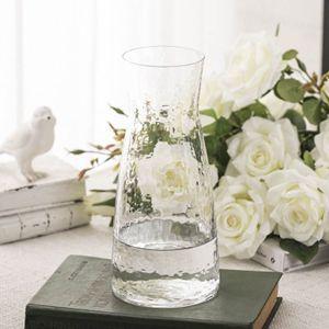 日式錘紋小透明玻璃花瓶簡約水培插花花器小清新干花花瓶擺件