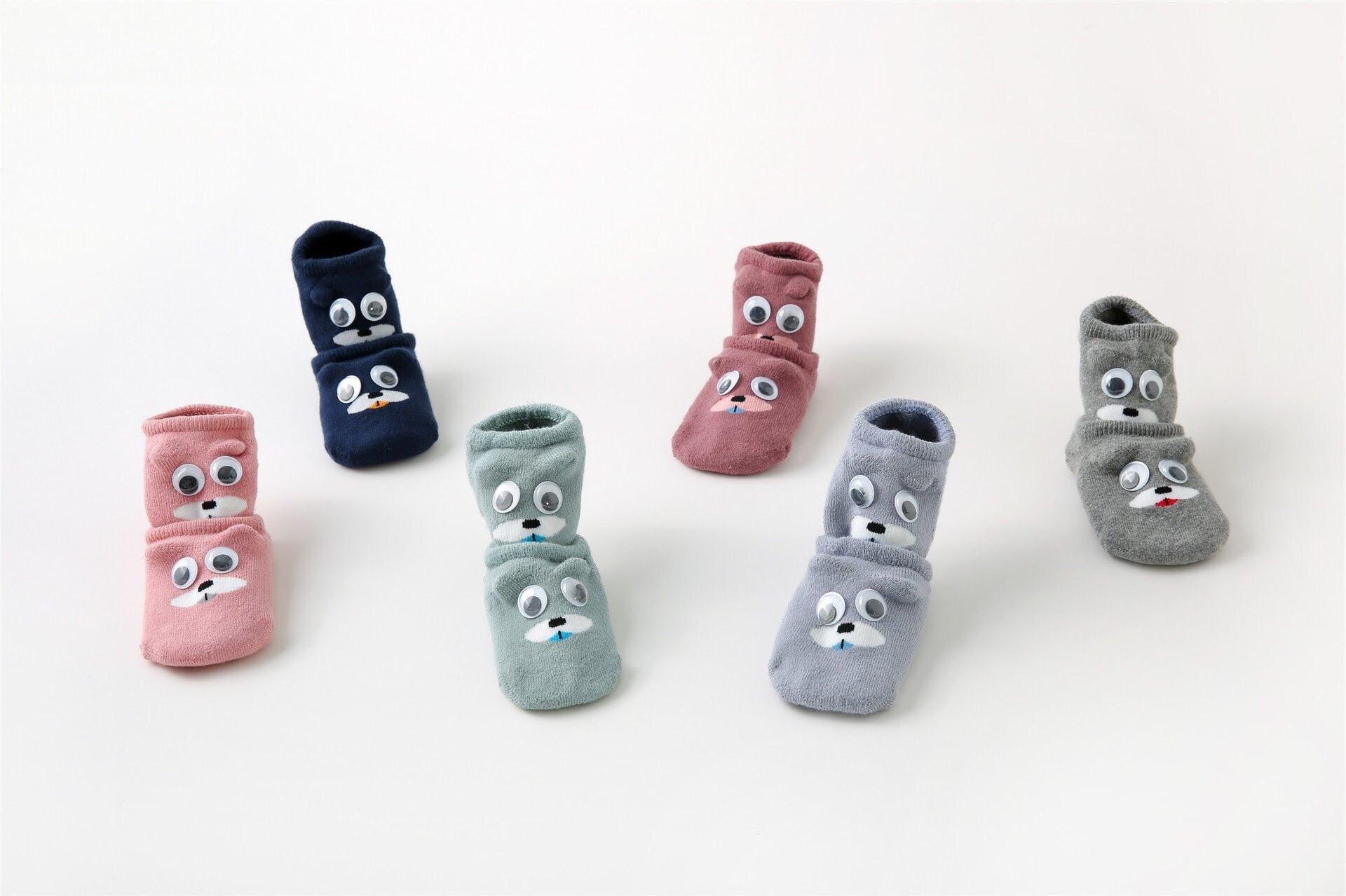 夏薄款【矽膠隱形船襪】防滑矽膠卡通兒童襪棉寶寶襪-藏青色/0-6M