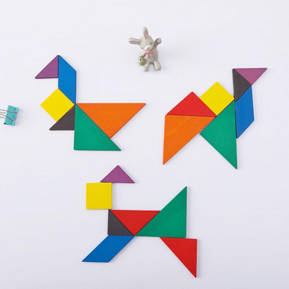 啟發幼兒智力木質七巧板 積木拼圖 兒童益智【BlueCat】【JC3212】