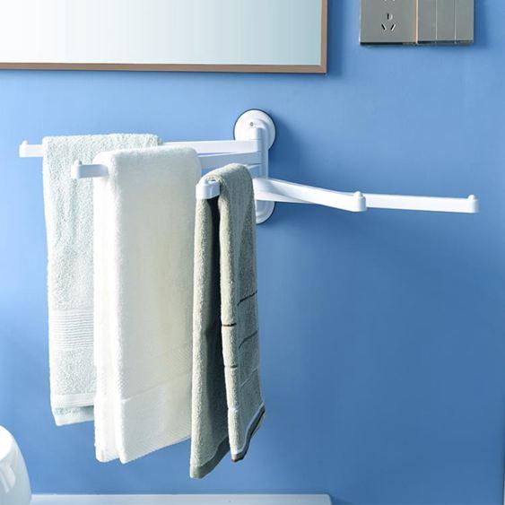 日本免打孔毛巾架吸盤式掛架浴室衛生間塑料毛巾掛免釘五桿可旋轉韓菲兒