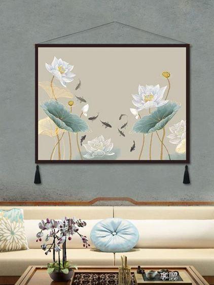 玄關裝飾畫荷花新中式布藝掛畫現代客廳書房掛毯床頭壁畫豎中國風