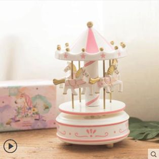 木質旋轉木馬音樂盒18歲20成年女孩生日禮物女生公主手工小八音盒