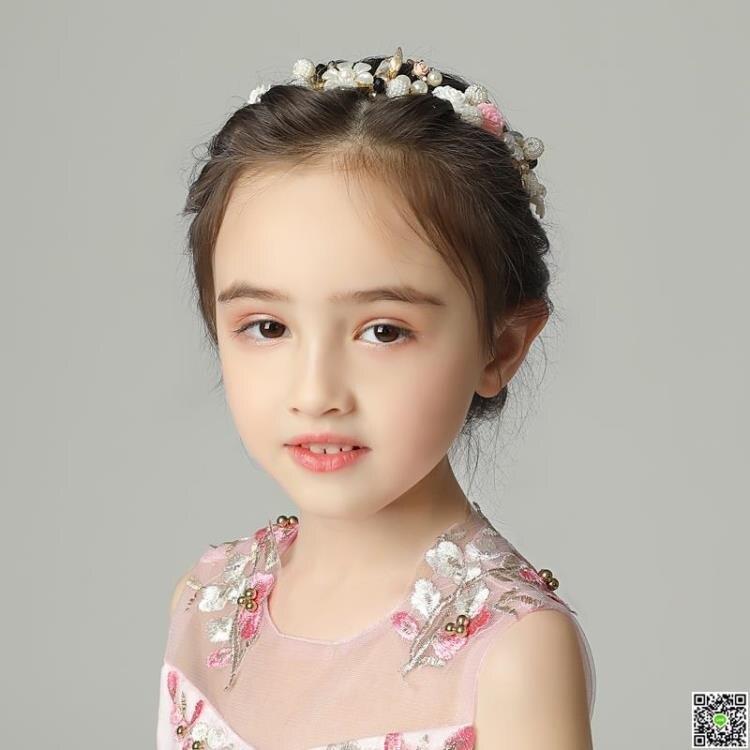 花環髮飾 女童頭飾女孩配飾頭花手工發飾發箍花環韓版花童生日演出粉色飾品