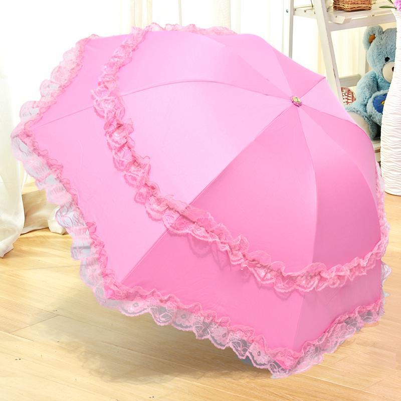 遮陽傘黑膠防曬防紫外線太陽傘小清新女生公主洋傘折疊睛雨傘1入