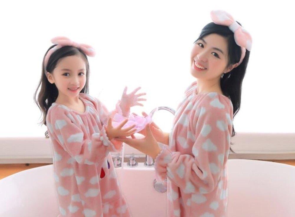 女童睡衣 兒童珊瑚絨睡裙女孩公主女童長袖加厚加長款法蘭絨親子睡衣  瑪麗蘇