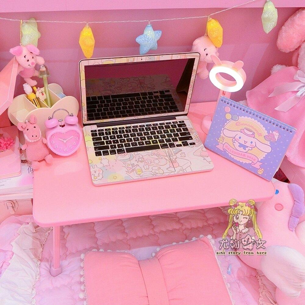 粉色貓咪床上桌宿舍可摺疊迷你可愛大學生大號筆記本電腦書桌WD   夏洛特居家名品