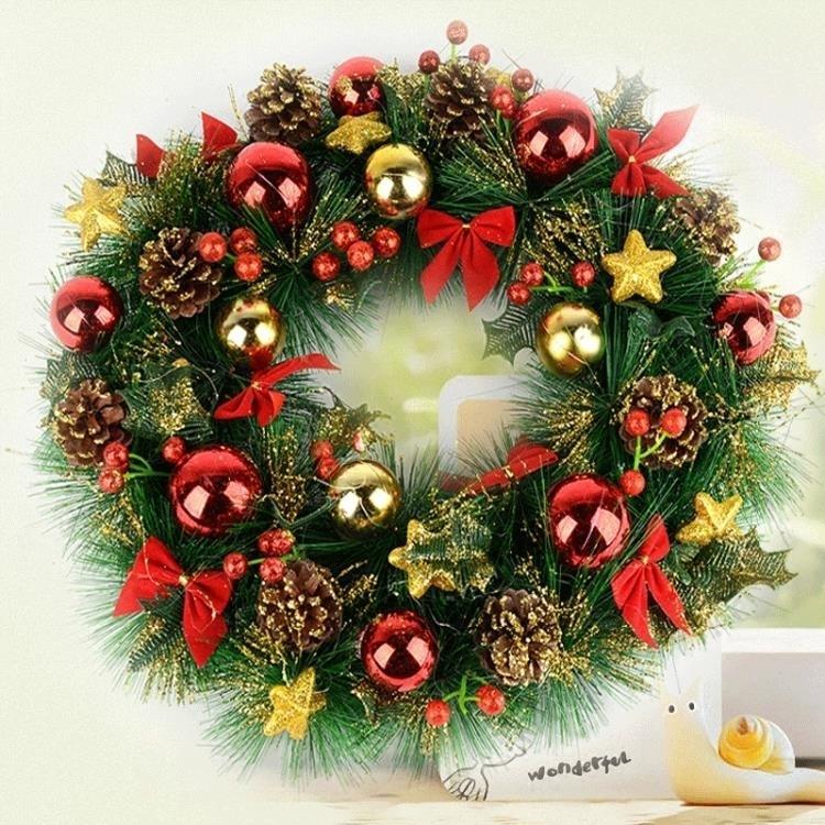 圣誕節裝飾用品40藤條花環藤圈圣誕樹掛件門掛場景布置