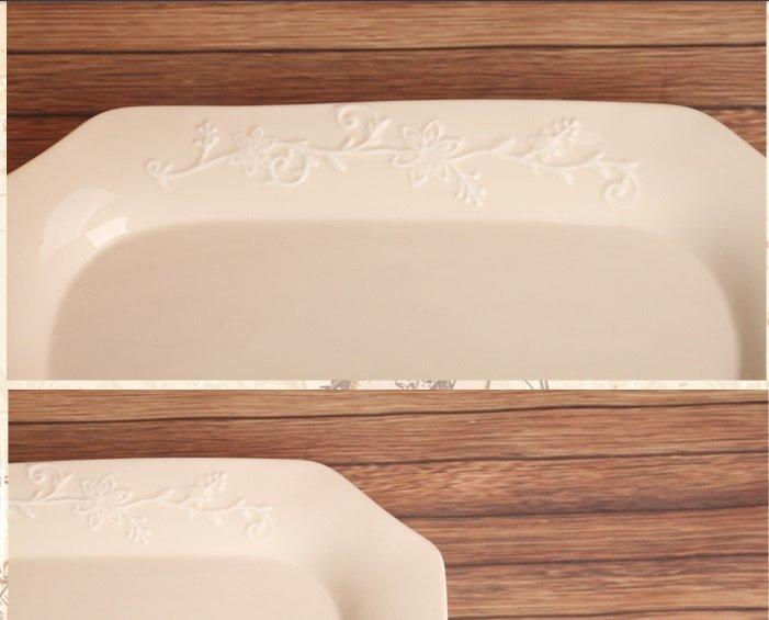 歐式浮雕花紋做舊鄉村複古長方抹角陶瓷盤 水果盤 點心盤 零食盤