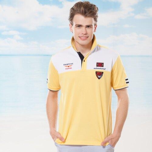 夏季  黃色搭配白色個性男裝POLO衫亮眼上衣款{ 黃色 M.L.XL } 【86761-20】*86精品女人國*