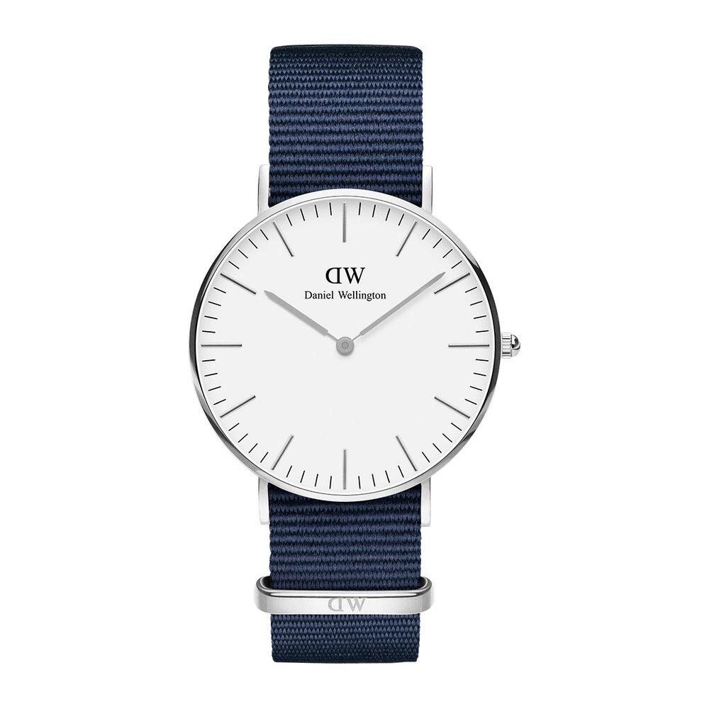 【滿額↘再折$150】【 Daniel Wellington】 DW 精品手錶 白面金框/銀框藍尼龍  36mm/40mm  (男女 保固一年 Palace store)