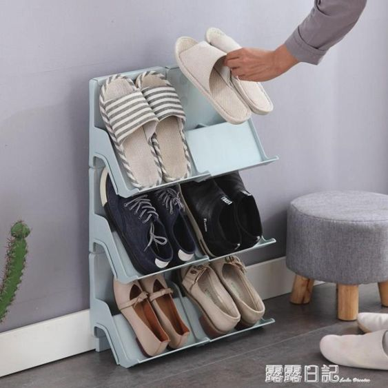 多層可疊加鞋架簡易門口家用塑料鞋托宿舍收納鞋架分層整理小鞋櫃
