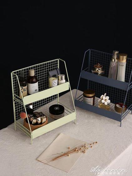 化妝品置物架鐵藝收納盒簡約北歐ins風整理梳妝臺書桌上宿舍桌面