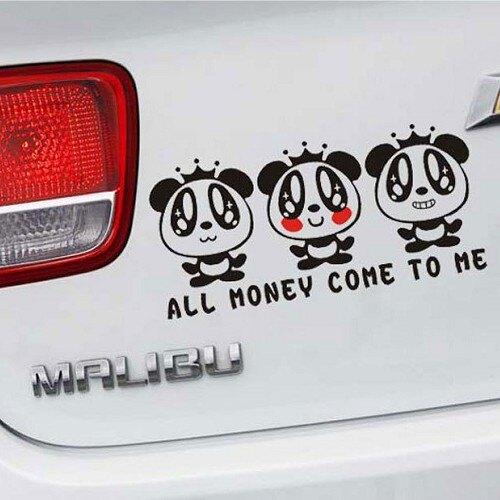MONEY 熊貓車貼 可愛熊貓 車身貼 車尾貼 汽車貼紙 遮刮痕 機車 重機 沂軒精品 A0190