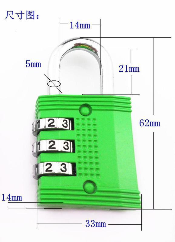 321-3字輪全金屬密碼鎖箱包掛鎖行李箱鎖多色可選2入