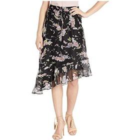 [LAUREN Ralph Lauren(ローレンラルフローレン)] スカート Asymmetrical Floral-Print Skirt Polo Black Multi L [並行輸入品]