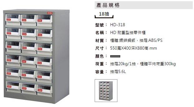 【耐重抽屜零件櫃】 裝潢 水電 維修 汽車 耗材 電子 3C 包膜 精密 車床 電器 樹德 HD-318 18格抽屜