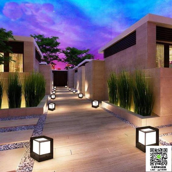 現代簡約太陽能方形柱燈室外柱頭燈過道防水燈圍牆戶外景觀花園燈 MKS99一件免運