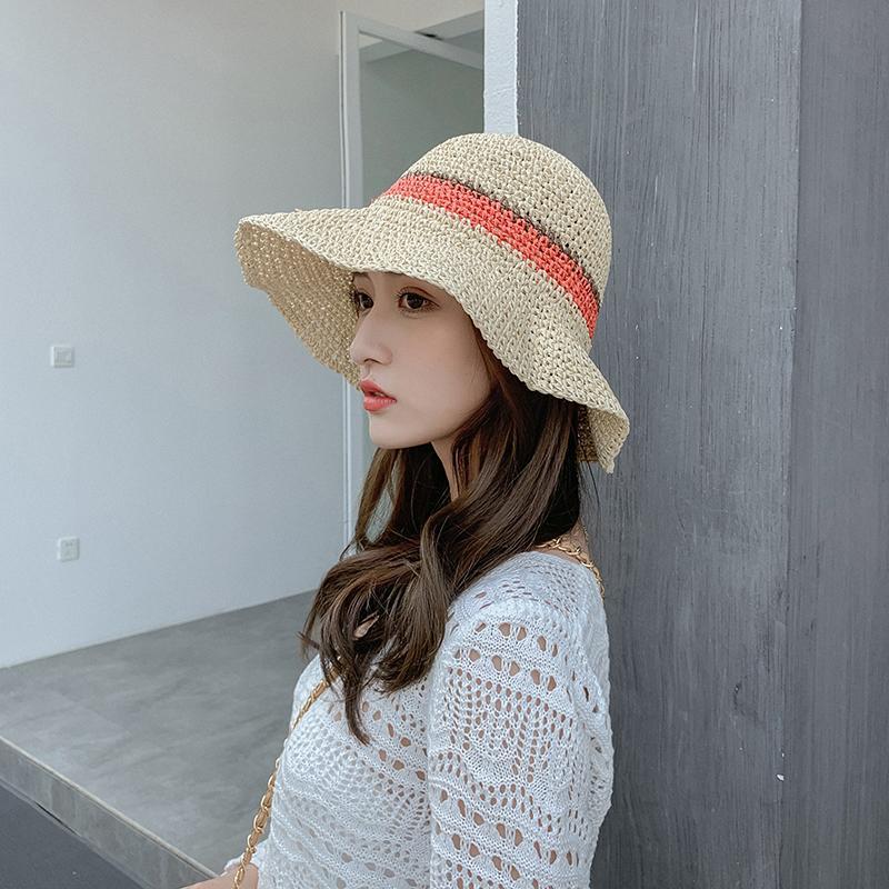 帽子女夏天韓版簡約小清新百搭草帽防曬大檐遮陽帽度假海邊沙灘帽1入