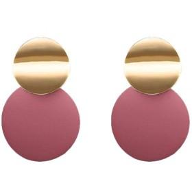 2019新しいファッションの創造サイズ非対称丸い金属のイヤリングのヨーロッパとアメリカの大きなイヤリング女性のファクトリーアウトレット,ピンク