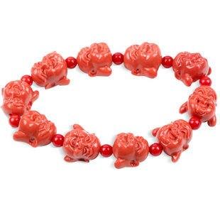 紅珊瑚彌勒佛佛頭手鏈