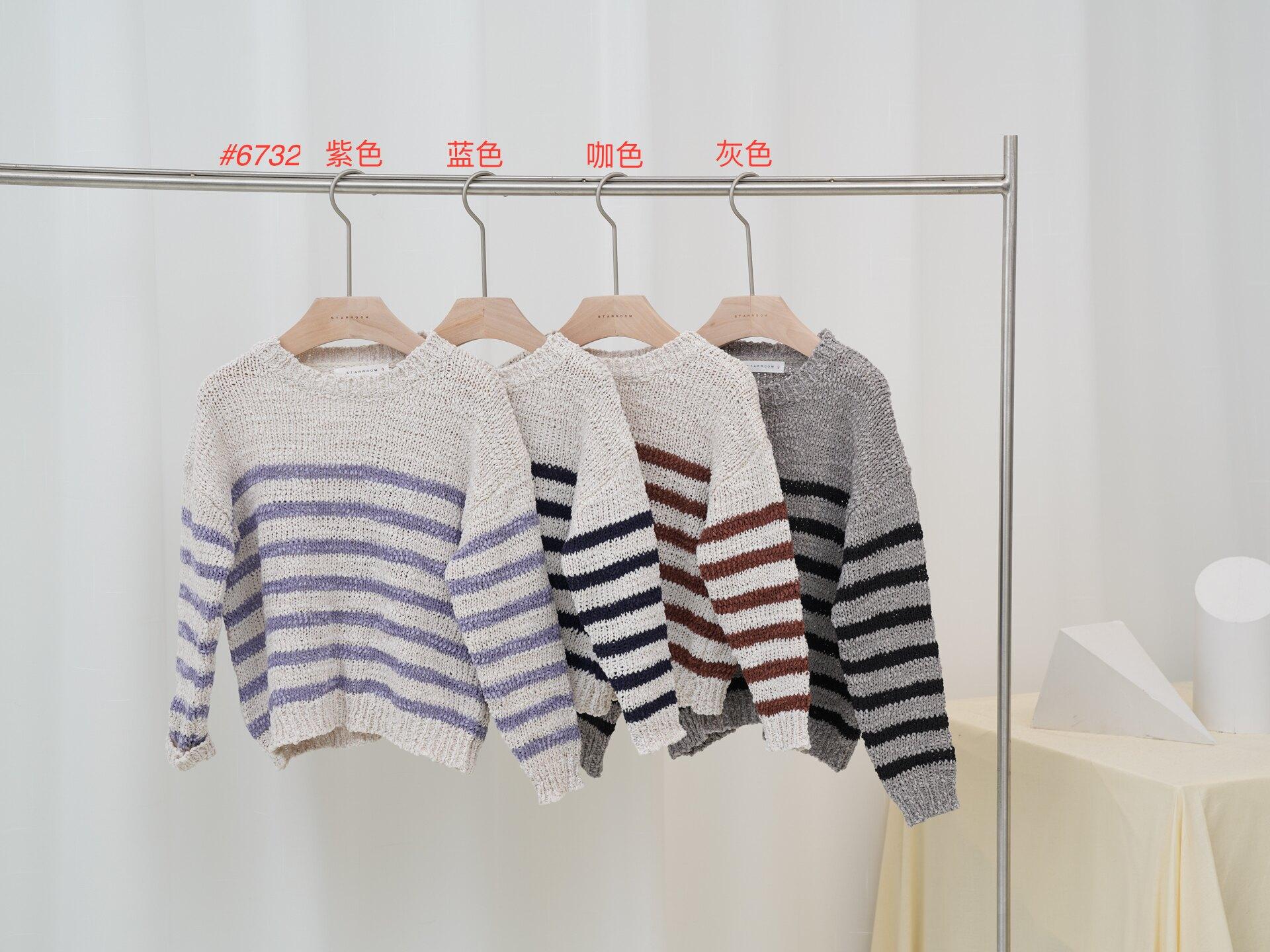 橫條上衣-中童 藍色/咖啡色/紫色/灰色