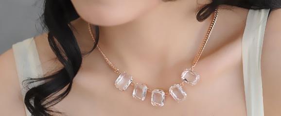透明水晶裝飾誇張時尚假領子項圈項鏈女鏈子配飾玫瑰金不掉色