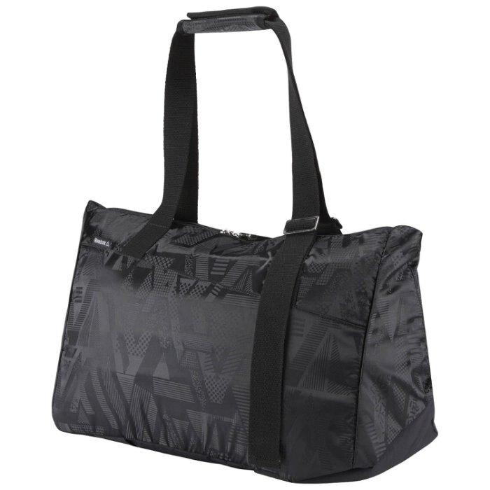 REEBOK LEAD & GO GRAPHIC GRIP DUFFLE BAG 旅行袋 側背 肩背 手提 休閒 黑【運動世界】BR9470
