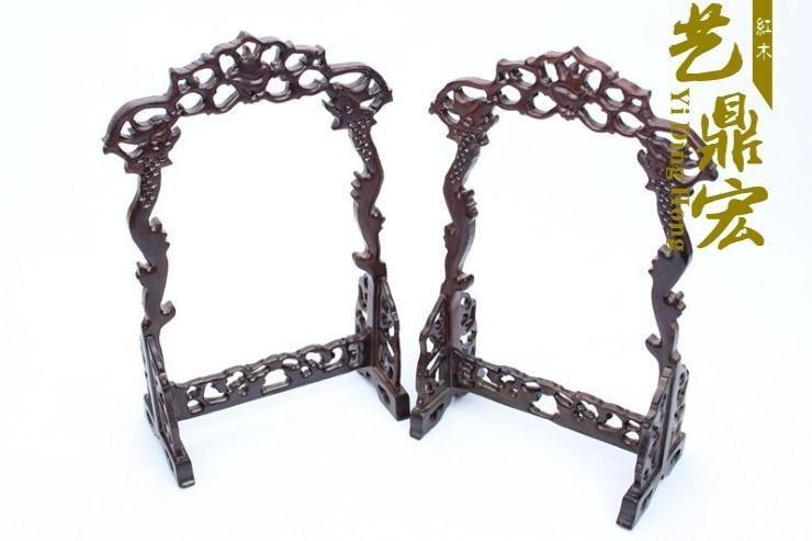 【藝鼎宏】紅木工藝黑枝木龍頭吊玉架龍門玉吊掛玉架、雙邊龍