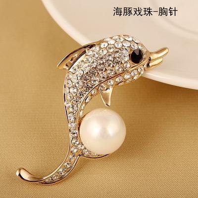 水鑽海豚珍珠胸針單1入