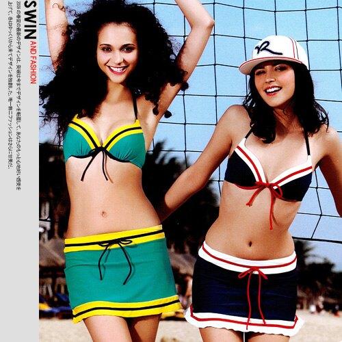 『泳裝出清』英格蘭風情比基尼三件式泳裝.運動c96-01080