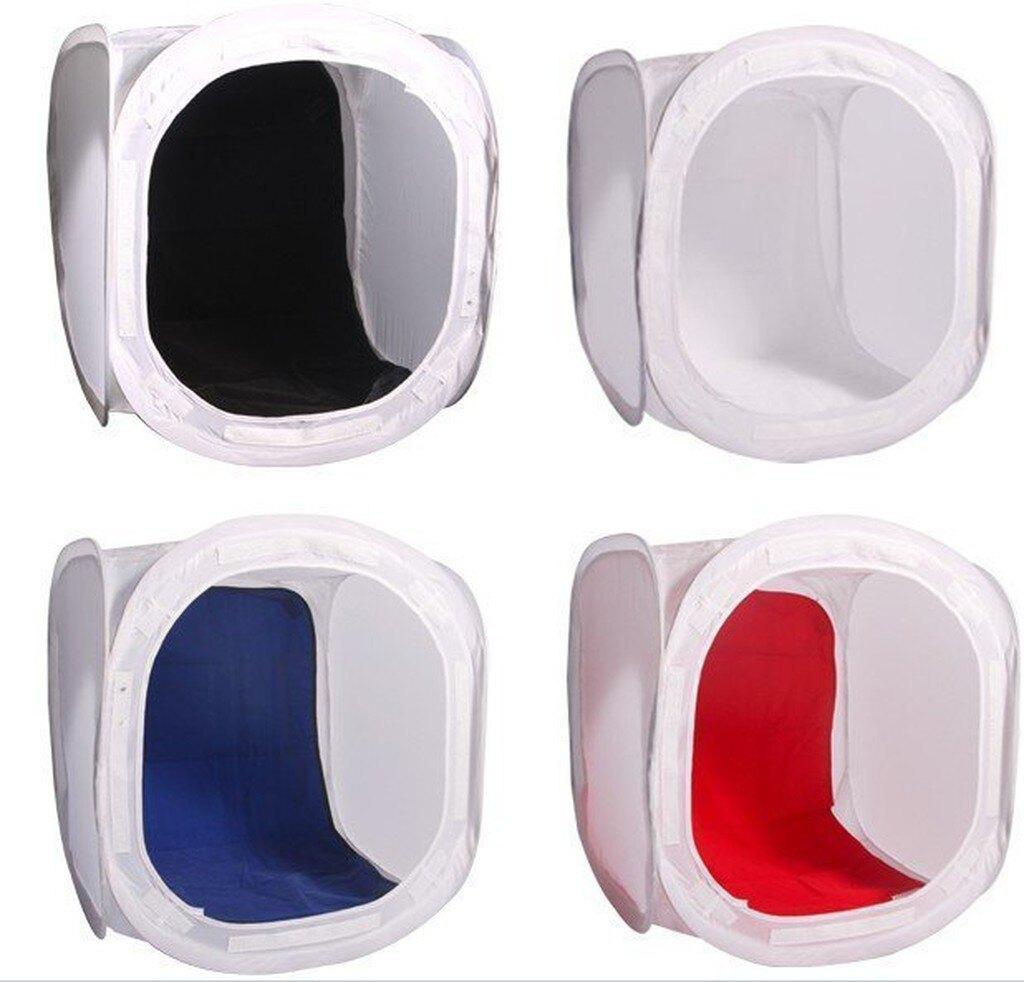 【中壢NOVA-水世界】攝影棚套裝組 (80cm可折疊收納攝影棚+3組燈罩式40cm棚燈) 送背景布4色 桌上型