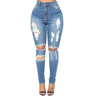 BOBIDYEE 女性のブルーデニムストレッチパンツスキニー苦しめられた破れたジーンズの女の子のスタイリッシュな高品質 (色 : Deep blue, サイズ : XXL)