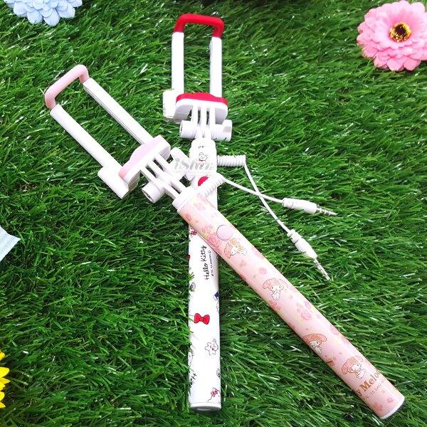三麗鷗 正版授權 線控自拍棒 自拍桿 自拍神器 可伸縮 輕巧迷你 Sanrio -Kitty/美樂蒂/雙子星/蛋黃哥