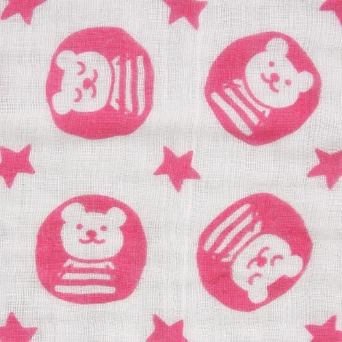 日本製 RAINBOW 彩虹熊 六重紗純棉方巾 粉色 浴巾 蓬鬆易乾 六層紗*夏日微風*