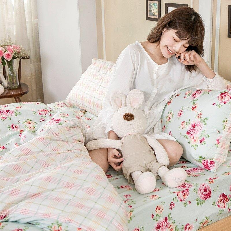 被套 / 單人-100%精梳棉【玫瑰粉格】4.5x6.5尺 花語系列 戀家小舖  台灣製 618購物節 在家上班推薦
