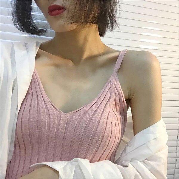 小低胸 立體 坑條 壓紋 V領 背心 細肩帶 針織 無袖 上衣 螺紋 素色 百搭 顯瘦 性感 爆乳 ANNA S.