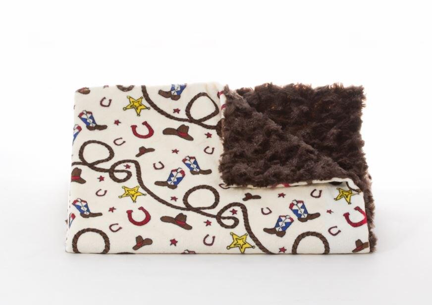 ★啦啦看世界★ 美國製 Tourance 朵蕾花苞毯 / 小小牛仔巧克力花苞 彌月禮 出生禮 月子 手工毯 寶寶毯 嬰兒毯 滿月 柯以柔 美國毯