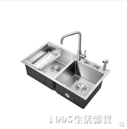 加厚手工水槽雙槽304不銹鋼水槽廚房洗菜盆洗碗池套餐台下盆 秋冬新品特惠