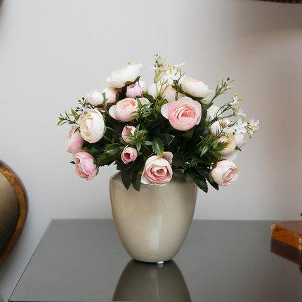 創意家居高仿真花套裝客廳臥室裝飾花藝假花絹花整體花藝(圖一)