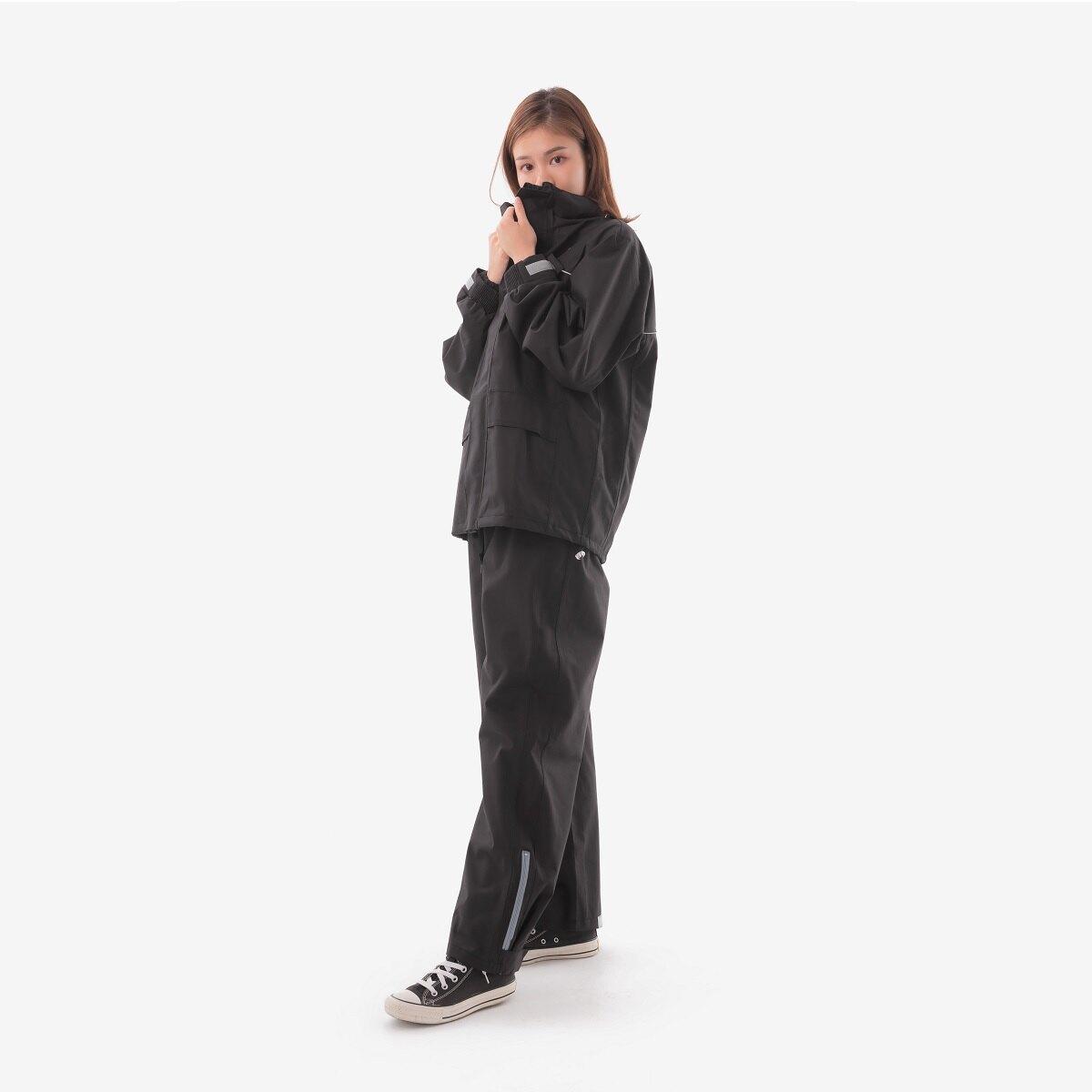 【小棉2號】世界首創 - 棉質兩件式防水透濕風雨衣-黑(M-2XL)