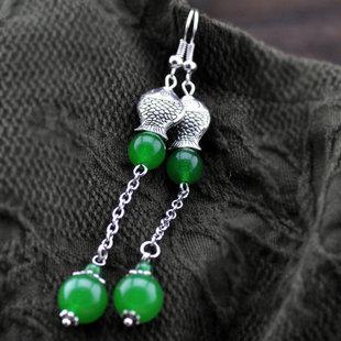 復古綠瑪瑙銀耳環女款飾品新款051B