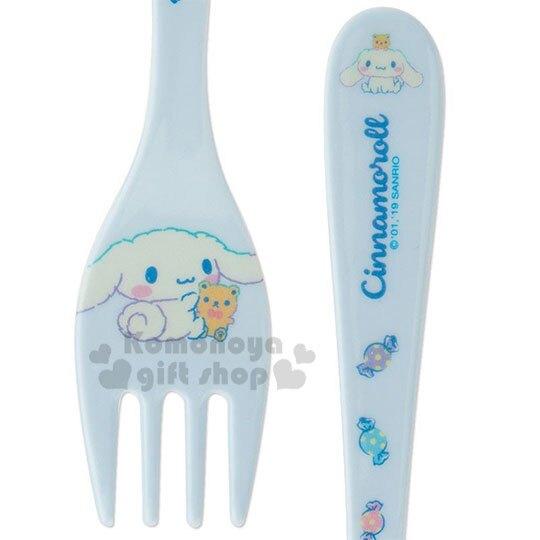 小禮堂 大耳狗 美耐皿叉子《藍白.抱熊》塑膠叉.環保餐具.兒童餐具