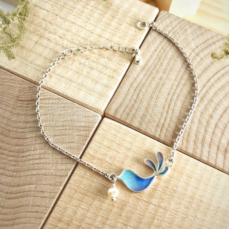 幸福青鳥 雙面設計純銀琺瑯手鍊-夢境款