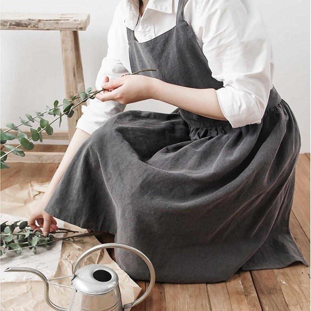 圍裙 哈嘍喵 漂亮水洗棉麻圍裙北歐風百褶裙邊花房咖啡廳圍兜溫馨烘焙 年會尾牙禮物